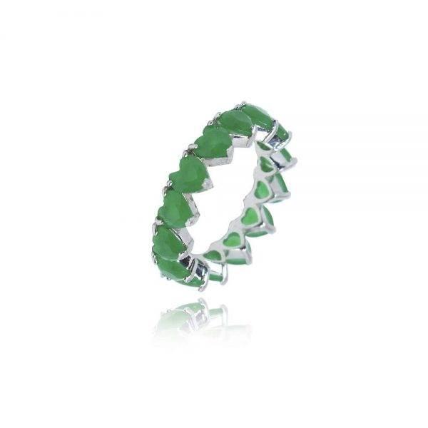 anel semi joia coracao zirconia esmeralda