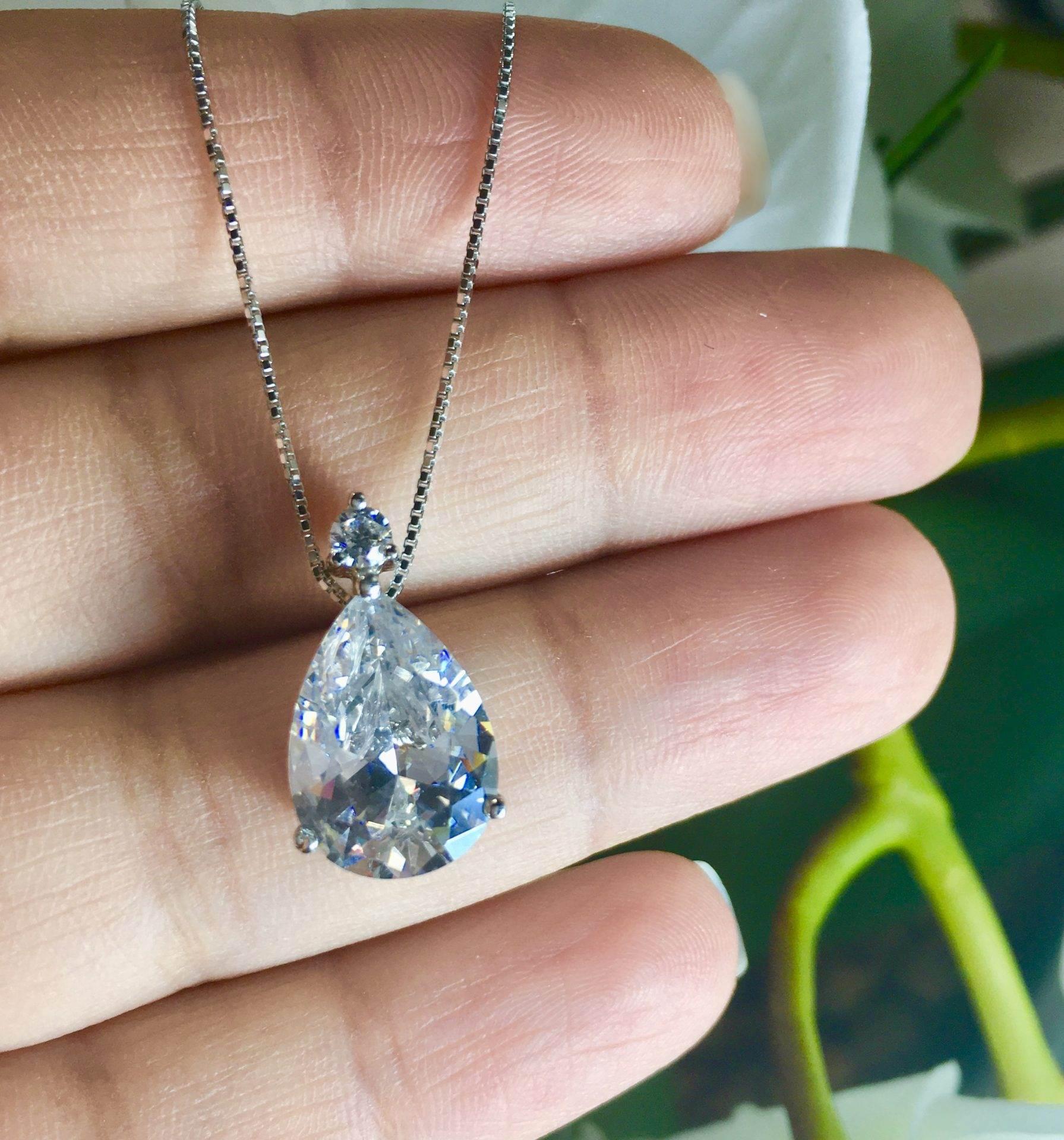 933fc2f0d28bf Colar Ponto de Luz Gota Delicado Cristal Prata 925