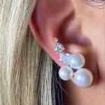 Brinco Ear Cuff Três Pérolas Brancas Cristais Prata 925