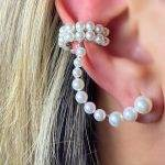 Brinco Ear Cuff Com Piercing Pérolas  Prata 925
