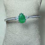 Bracelete 1 Gota Esmeralda Cravejada Prata 925